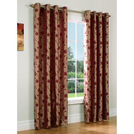 "Habitat Chateau Embroidered Chenille Curtains - 108x63"", Grommet-Top in Sienna Gold"