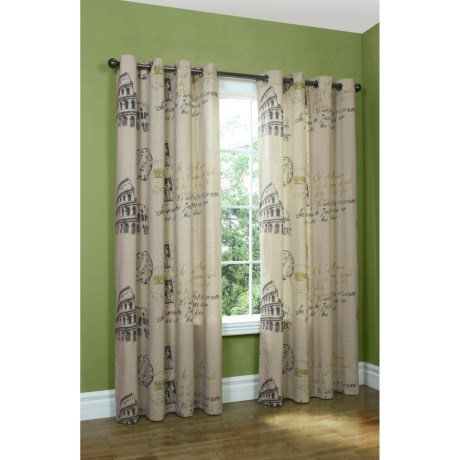 "Habitat Destination Rome Curtains - 104x84"", Grommet-Top in Tan"