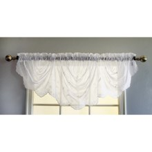 """Habitat Embroidered Austrian Window Valance - Rod Pocket, 72x29"""" in White - Closeouts"""