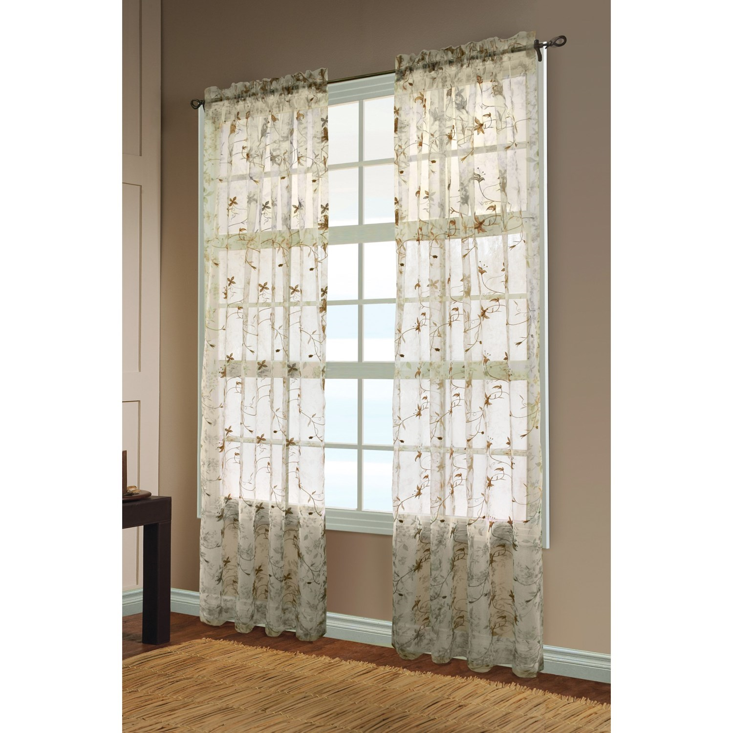 "... Embroidered Floral-Print Sheer Curtains - 108x84"", Rod-Pocket Top"