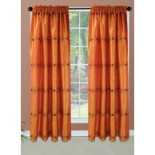 "Habitat Faux-Silk Floral Sunset Curtains - 110x84"", Pole-Top in Orange-Red - Closeouts"