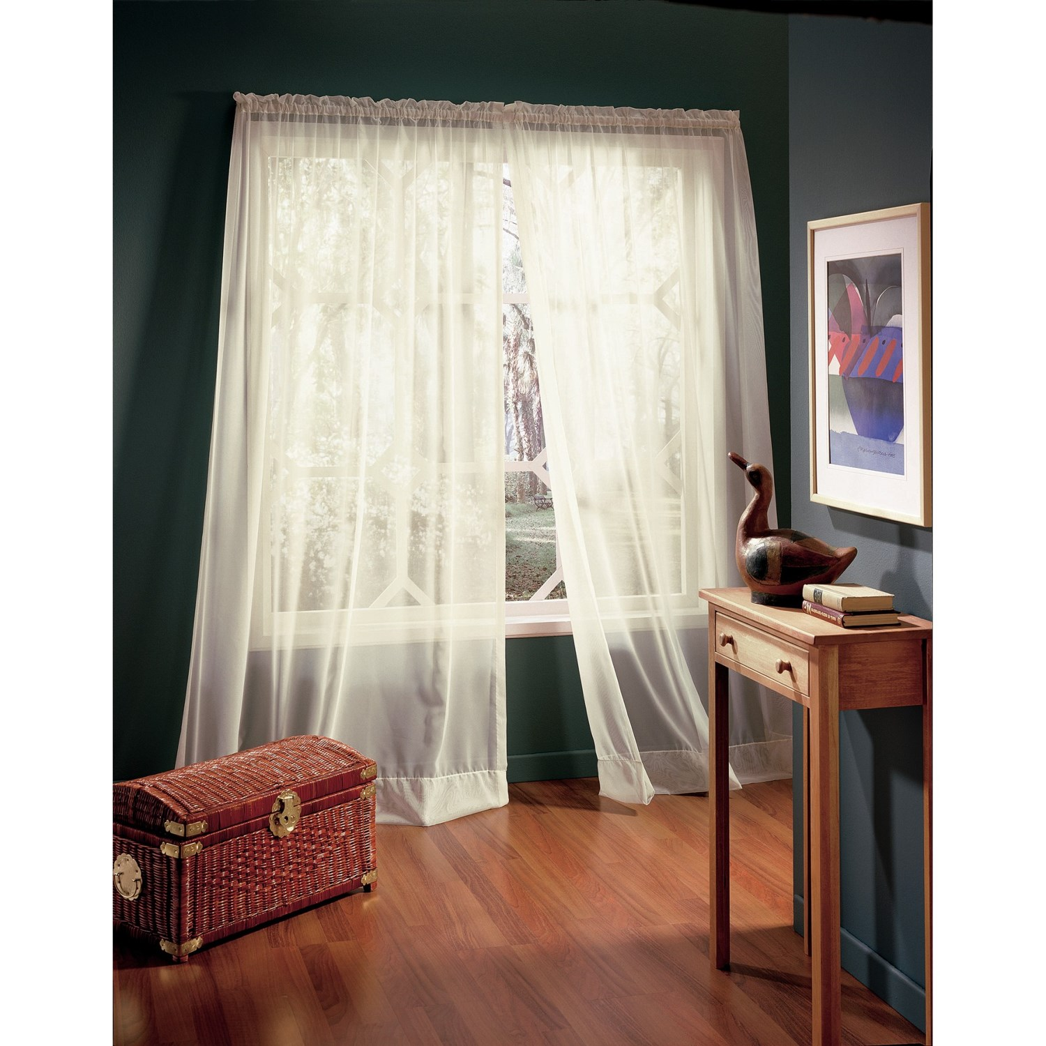 "... Voile Wide-Panel Sheer Curtains - 110x63"", Rod-Pocket Top - Save 75%"
