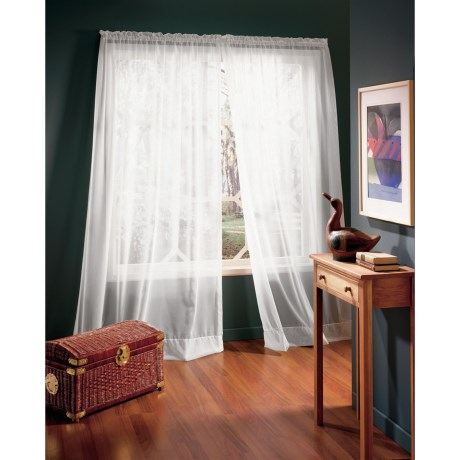 "Habitat High Twist Voile Wide-Panel Sheer Curtains - 110x84"", Rod-Pocket Top in White"