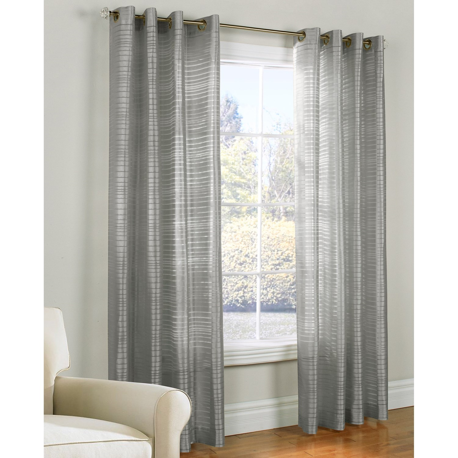 ... Slate Blue Sheer Curtains Habitat Horizontal Stripe Burnout Semi Sheer  Curtains 100x84 Grommet Top Save 36 ...