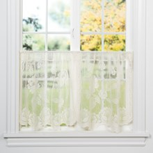 "Habitat Leeanne Lace Curtain Tiers - 60x36"", Rod Pocket in Ivory - Closeouts"