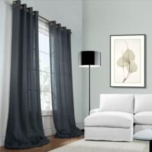 """Habitat Open Weave Sheer Belgian Linen Curtains - 100x108"""", Grommet Top in Indigo - Closeouts"""