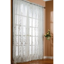 """Habitat Romance Embroidered Organza Curtain Sheers - 108x84"""", Rod-Pocket in Multi - Closeouts"""
