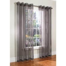 "Habitat Sheer Natural Grid Curtains - 104x84"", Grommet Top in Grey - Closeouts"