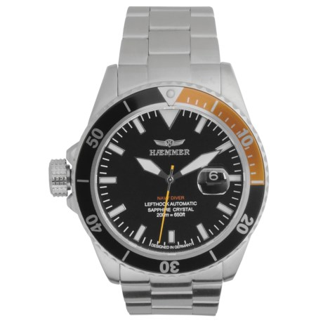 Haemmer Navy Diver Automatic Watch - Stainless Steel Bracelet in Black/Orange/Stainless Steel