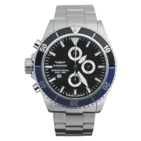 Haemmer Navy Diver Chronograph Watch in Black/Blue/Stainless Steel