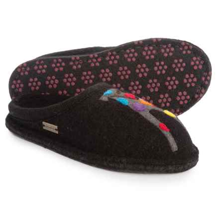 Haflinger AR Felix Jack Boiled Wool Slippers (For Women) in Black - Closeouts