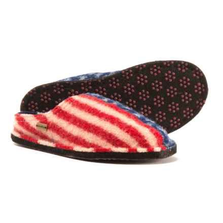 Haflinger Boiled Wool Slippers (For Men and Women) in Red/White/Blue - Closeouts