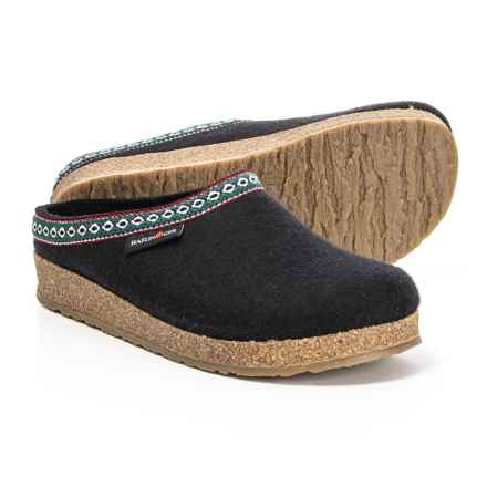 Haflinger Grizzly Wool Felt Classic Slippers (For Women) in Black - Closeouts