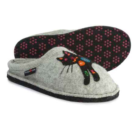 Haflinger Sassy Silver Cat Boiled Wool Slippers (For Women) in Silver Grey - Closeouts