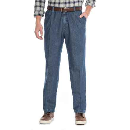 Haggar Work to Weekend Pleated Jeans - Classic Fit, Stretch Waistband (For Men) in Medium Stonewash - Closeouts