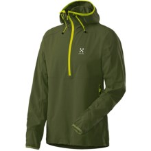 Haglofs Krait Hooded Jacket - Zip Neck, Soft Shell (For Men) in Nori Green - Closeouts