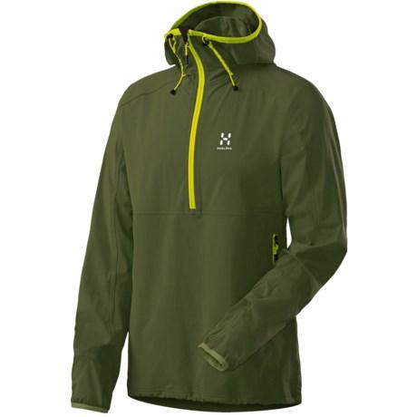 Haglofs Krait Hooded Jacket - Zip Neck, Soft Shell (For Men) in Nori Green