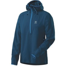 Haglofs Krait Hooded Jacket - Zip Neck, Soft Shell (For Men) in Strato Blue - Closeouts