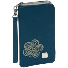 Haiku Zip Wallet 2 - Recycled Materials (For Women) in Majolica Blue Modern Flower - Closeouts