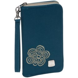 Haiku Zip Wallet 2 - Recycled Materials (For Women) in Majolica Blue Modern Flower