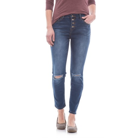 Hallie Distressed Skinny Jeans - High Rise, Button Fly (For Women)