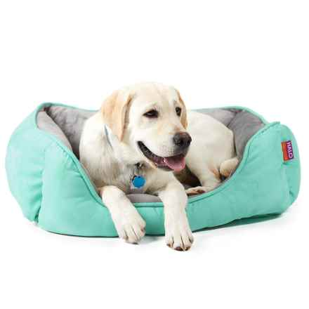 """Halo Reversible Rectangular Cuddler Dog Bed - 24x34"""" in Busty Turquoise/Vapor - Closeouts"""