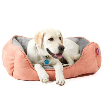 "Halo Reversible Rectangular Cuddler Dog Bed - 24x34"" in Shrimp/Steel Grey - Closeouts"