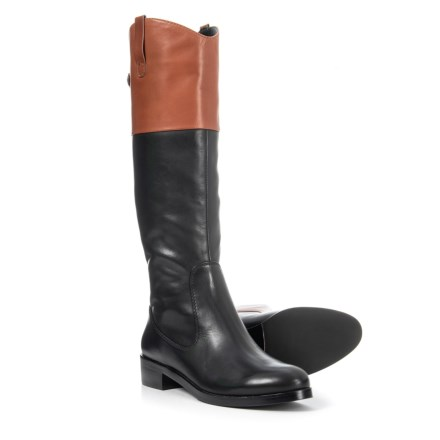 Halston Heritage Barbara Tall Riding Boots - Leather (For Women) in Black  With Cognac d87be1adbc0