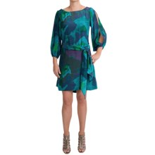 Halston Heritage Silk Dress - 3/4 Sleeve (For Women) in Blue Green - Closeouts