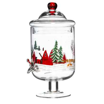Hand Painted JP Glass Winter Barnyard Beverage Dispenser in See Photo - Closeouts