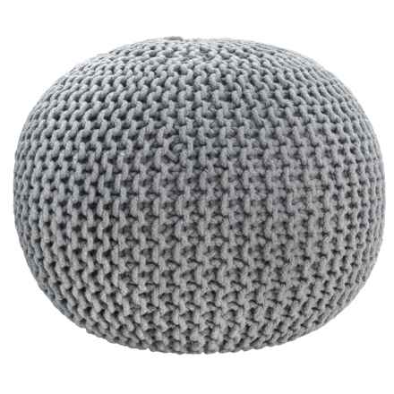 """Handcrafted In India Medium Grey Majestic Knit Pouf - 20x16"""" in Medium Grey - Closeouts"""