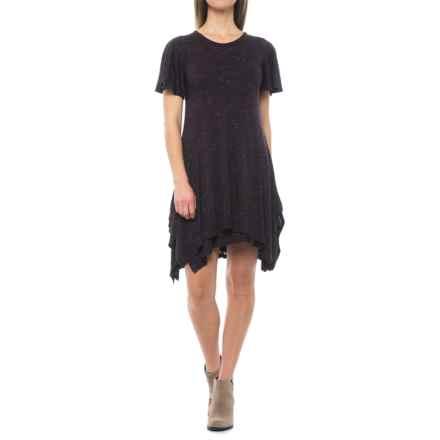 Handkerchief Stretch-Knit Dress - Short Sleeve (For Women) in Berry - 2nds