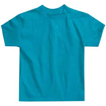 Hanes Authentic Open End T-Shirt - Cotton, Short Sleeve (For Little andBig Kids) in Blue Green - 2nds