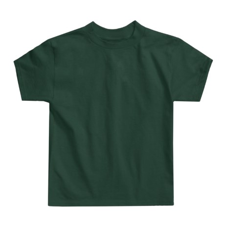 Hanes Authentic Open End T-Shirt - Cotton, Short Sleeve (For Youth) in Dark Green