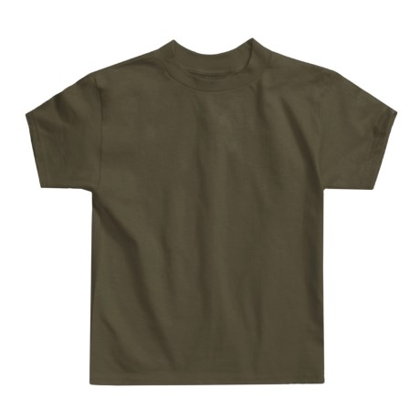 Hanes Authentic Open End T-Shirt - Cotton, Short Sleeve (For Youth) in Olive