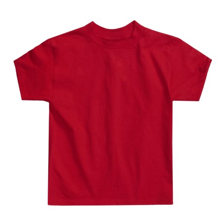 Hanes Authentic Open End T-Shirt - Cotton, Short Sleeve (For Youth) in Red