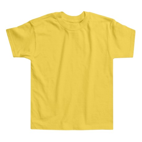 Hanes Authentic Open End T-Shirt - Cotton, Short Sleeve (For Youth) in Yellow