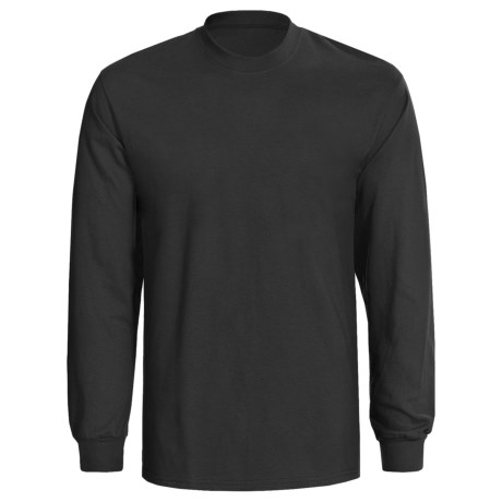 Hanes Authentic Open End T-Shirt -  Tagless, Long Sleeve (For Men and Women) in Black