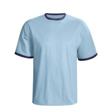 Hanes Beefy Ringer T-Shirt - Ring-Spun Cotton, Short Sleeve (For Men and Women) in Light Blue/Navy - 2nds