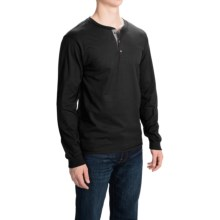 Hanes Beefy-T Henley Shirt - Cotton, Button Neck, Long Sleeve (For Men) in Black - 2nds