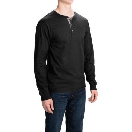 Hanes Beefy-T Henley Shirt - Cotton, Button Neck, Long Sleeve (For Men)