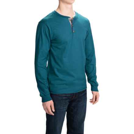 Hanes Beefy-T Henley Shirt - Cotton, Button Neck, Long Sleeve (For Men) in Blue Green - 2nds