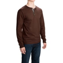 Hanes Beefy-T Henley Shirt - Cotton, Button Neck, Long Sleeve (For Men) in Dark Brown - 2nds