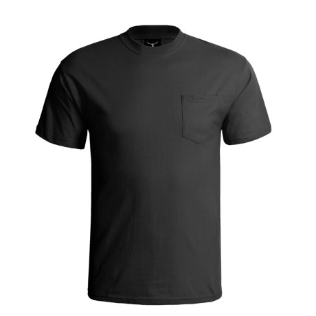 Hanes Beefy-T Pocket T-Shirt - Ring-Spun Cotton, Short Sleeve (For Men) in Black