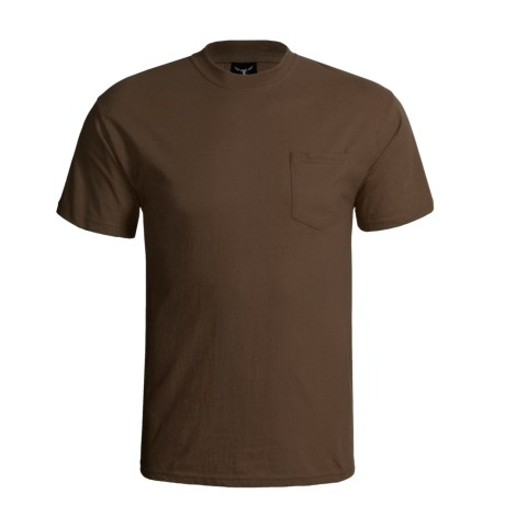 Hanes Beefy-T Pocket T-Shirt - Ring-Spun Cotton, Short Sleeve (For Men) in Brown