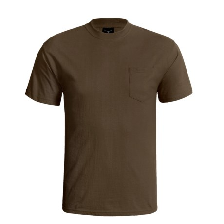 Hanes Beefy-T Pocket T-Shirt - Ring-Spun Cotton, Short Sleeve (For Men) in Dark Brown