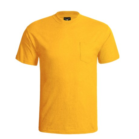 Hanes Beefy-T Pocket T-Shirt - Ring-Spun Cotton, Short Sleeve (For Men) in Gold