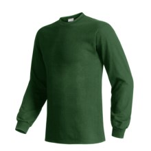 Hanes Beefy T-Shirt - Long Sleeve (For Men and Women) in Dark Green - 2nds
