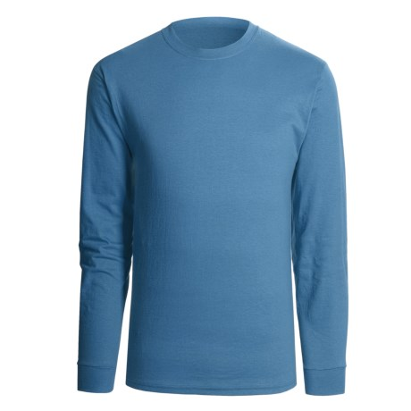 Hanes Beefy T-Shirt - Long Sleeve (For Men and Women) in Grey Blue