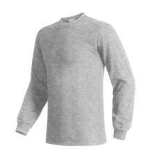 Hanes Beefy T-Shirt - Long Sleeve (For Men and Women) in Grey Heather - 2nds